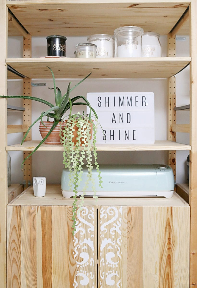 IKEA IVAR Wooden Shelves in the Shrimp Salad Circus Craft Studio With Cricut Mint Explore Air 2