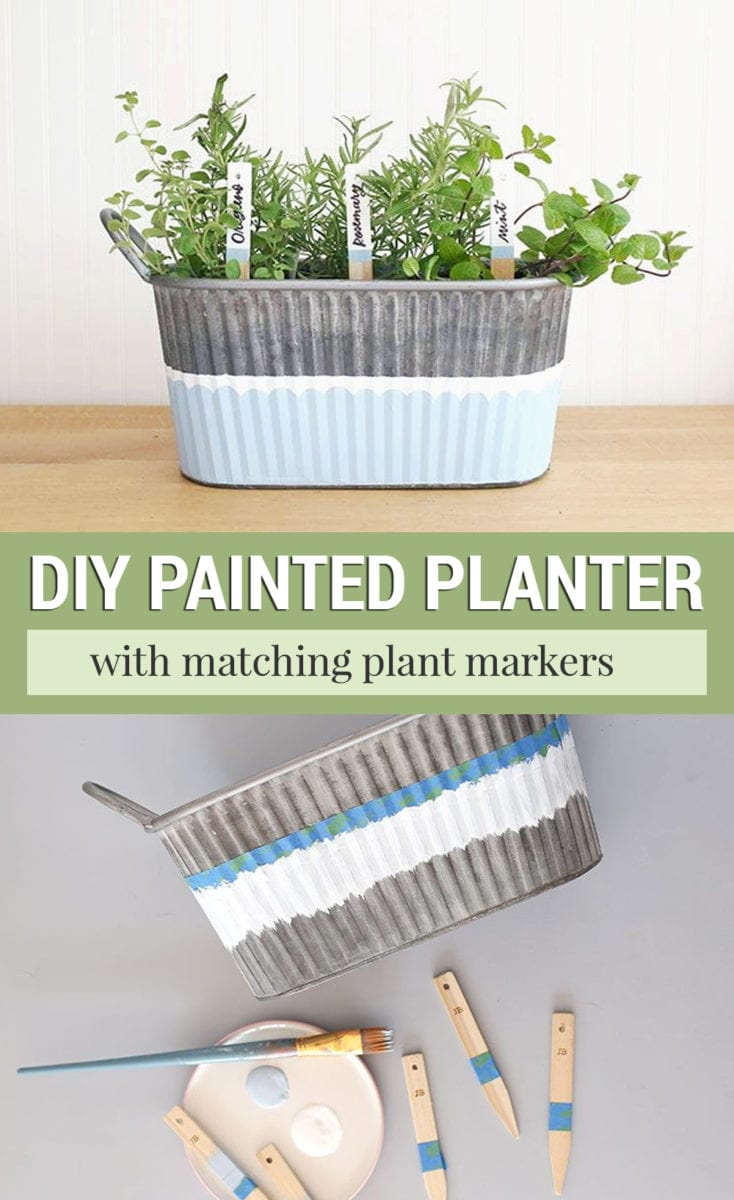 Galvanized metal painted planter