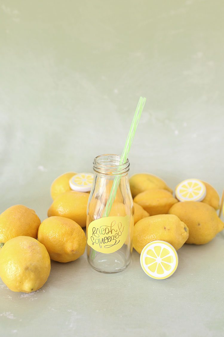 Vintage Style Glass Milk Bottles With Fresh Lemons and Lemonade Label and Reusable Straw