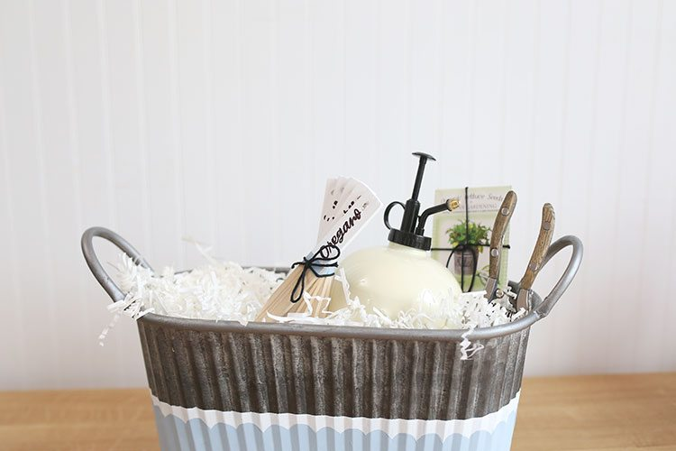 DIY Gardening Gift Basket With Painted Planter and Garden Markers