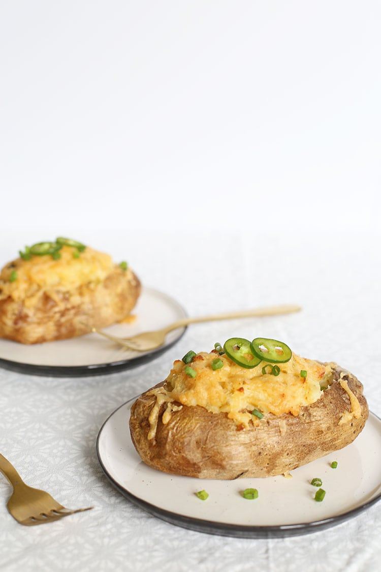 Cheesy Green Chile Twice Baked Potatoes Recipe