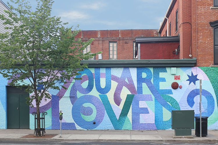 You Are Loved Human Trafficking Awareness Mural by Alex Cook in Burlington, Vermont