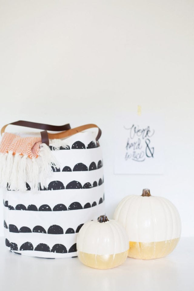 DIY Gold Leaf Dipped Pumpkins For Fall