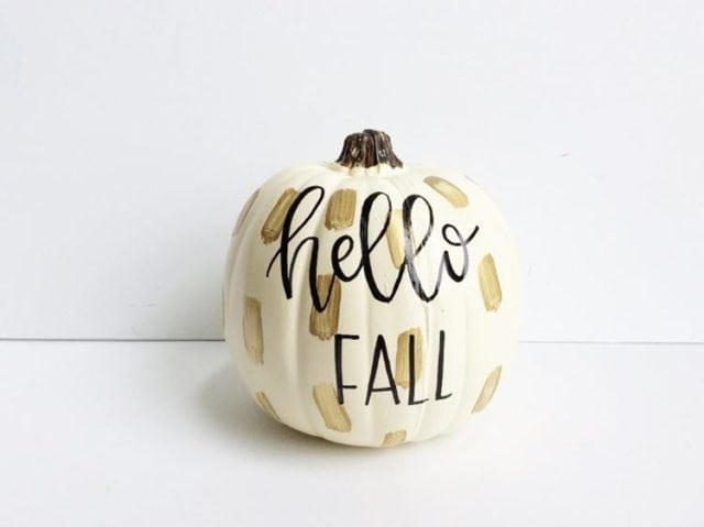 DIY Hand Lettered Painted Pumpkin
