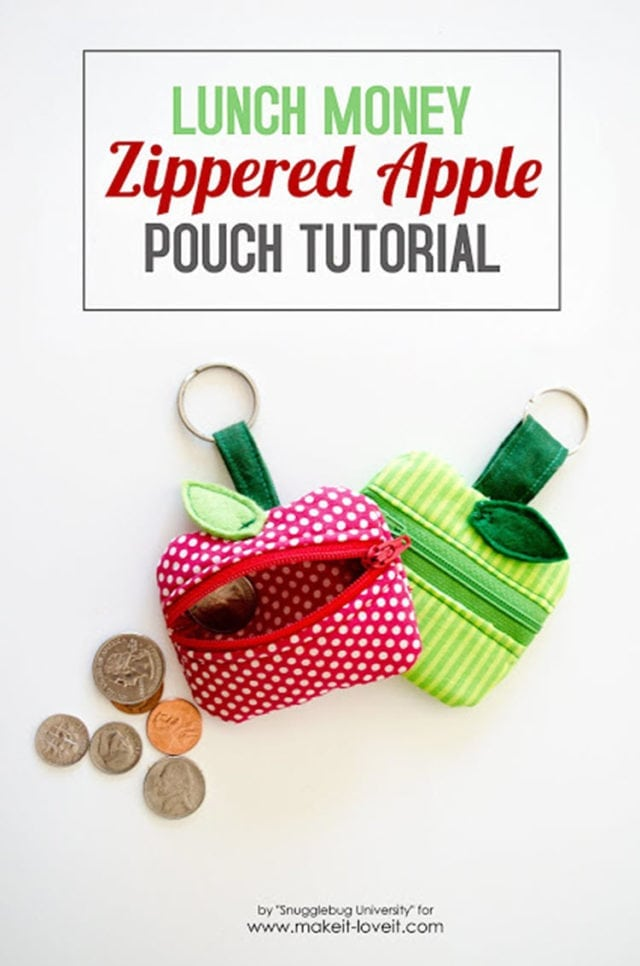 Lunch Money Zippered Apple Pouch Tutorial