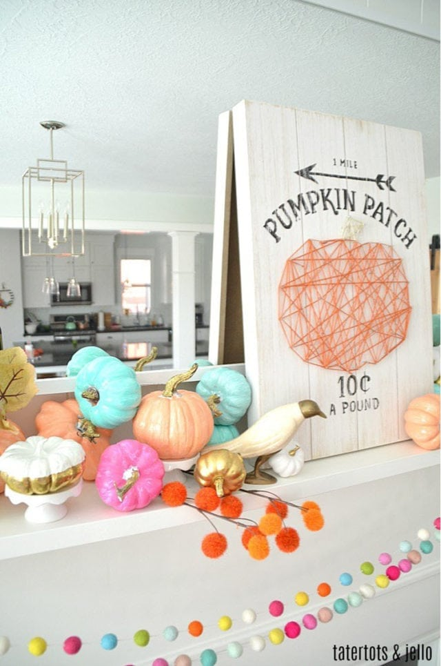 Colorful Fall Mantel With Painted Foam Pumpkins