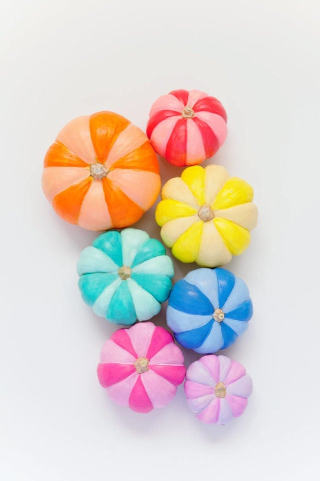 DIY Rainbow Painted Pumpkins