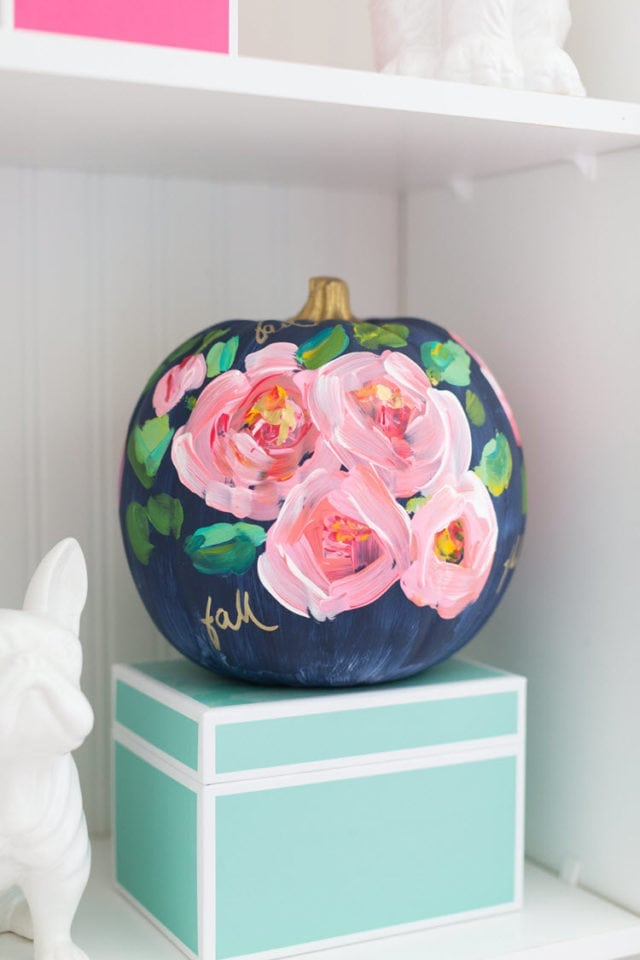 Hand Painted Floral Pumpkin