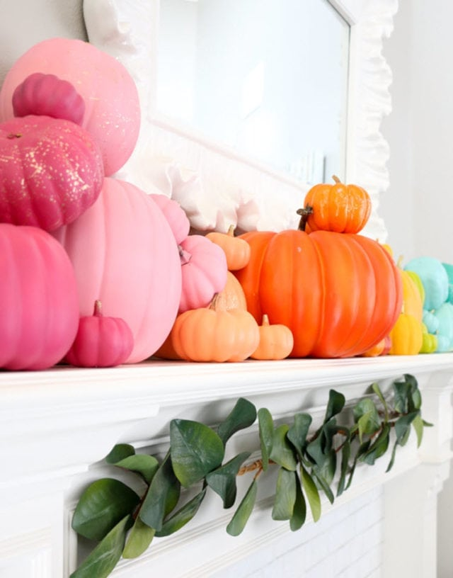 Rainbow Pumpkin Mantel