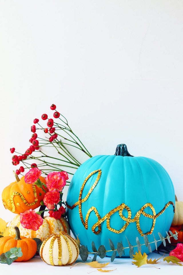 DIY Sequin Message Pumpkin