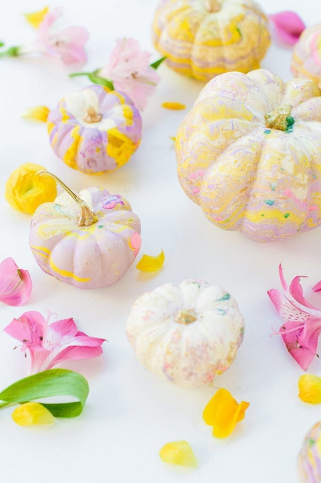 Pretty Pastels DIY Marbled Pumpkins
