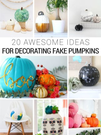 20 DIY Fake Pumpkin Decorating Ideas for Halloween and Fall thumbnail