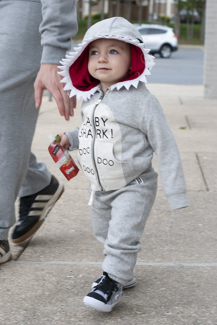 DIY Baby Costume - Baby Shark Song Halloween Costume Idea