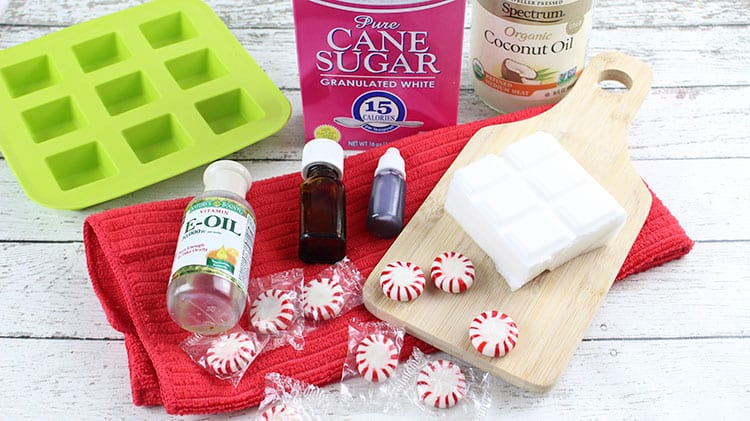 DIY Peppermint Candy Cane Sugar Scrub Cubes Recipe - Supplies