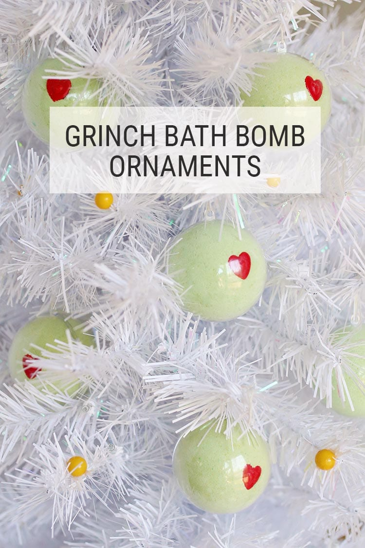 DIY Grinch Bath Bomb Ornaments for Christmas 4