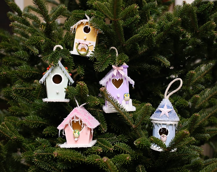 DIY Mini Bird House Christmas Village Ornaments