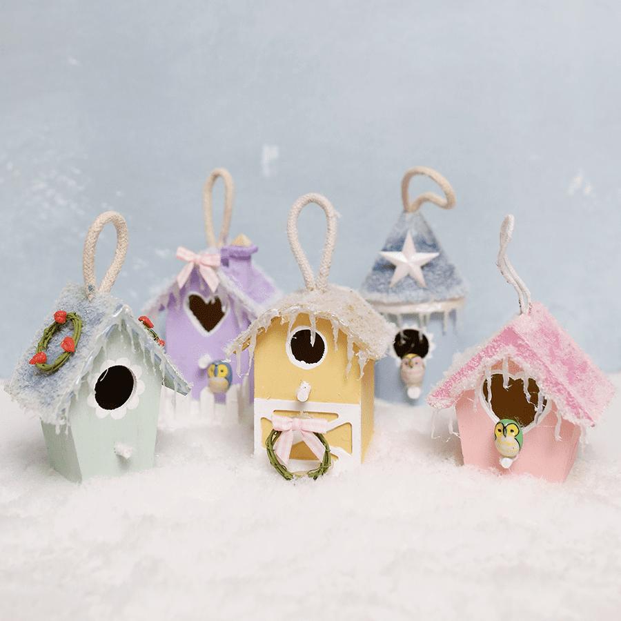 Christmas Birdhouses Crafts.Diy Mini Birdhouse Christmas Village Ornaments Shrimp
