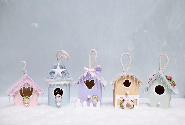 DIY Mini Birdhouse Christmas Village Ornaments or Mantel Display