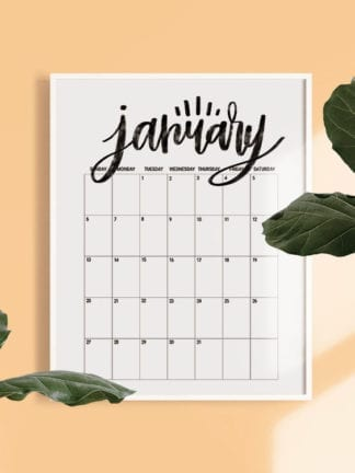 Hand Lettered Free Printable 2019 Monthly Calendar thumbnail