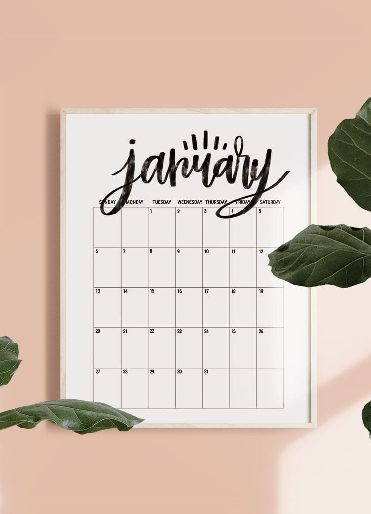 Hand Lettered Free Printable 2019 Monthly Calendar Poster Size