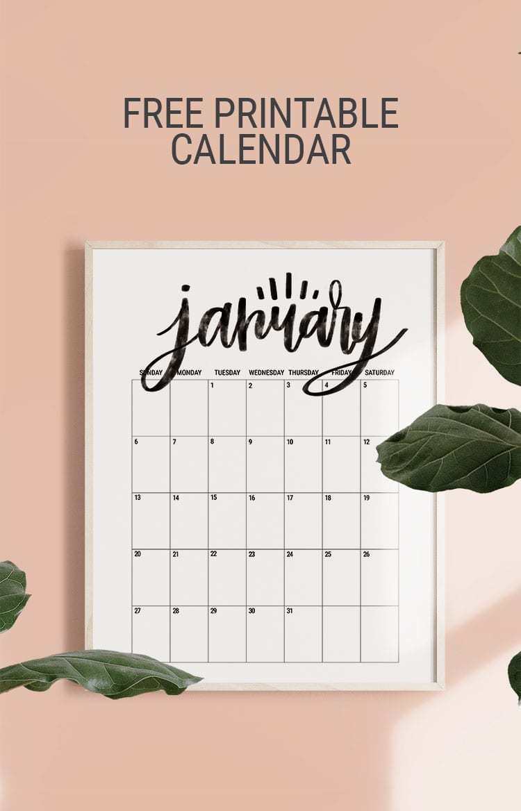 Hand Lettered Free Printable 2019 Monthly Calendar Poster Size for the Wall