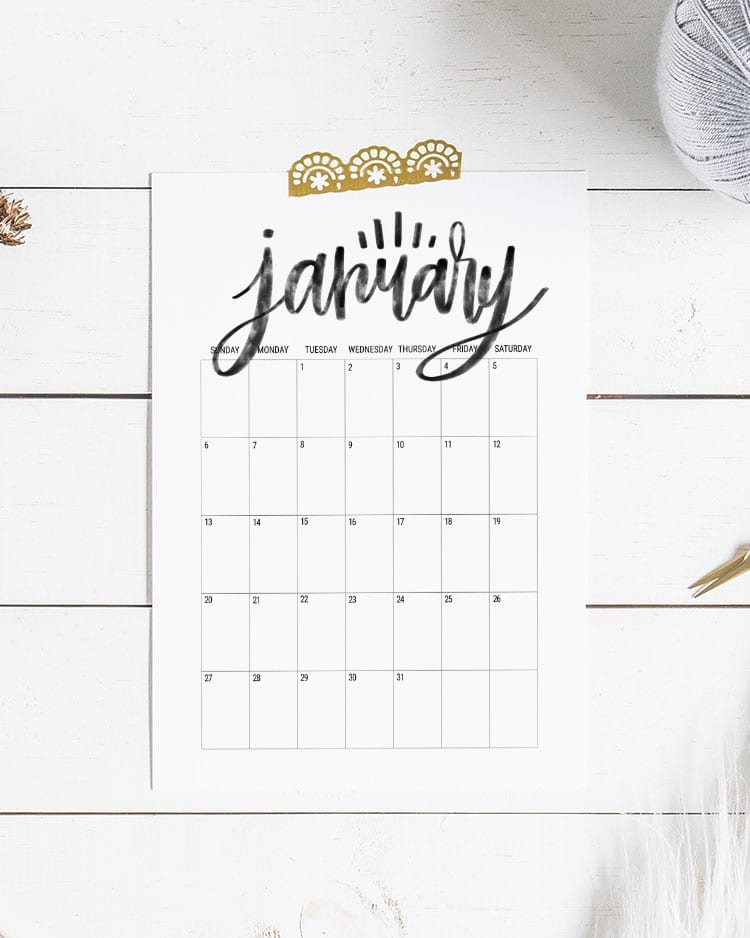 Hand Lettered Free Printable Calendar 2019 A4
