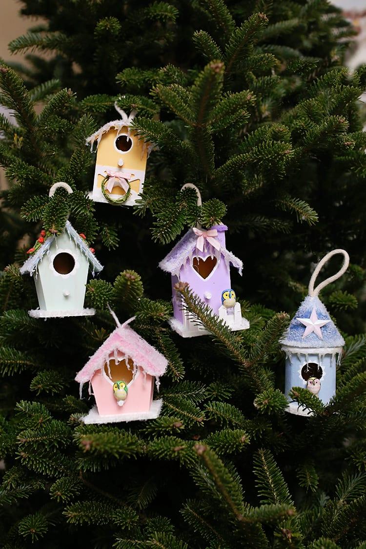 Mini Bird House Christmas Village Ornaments
