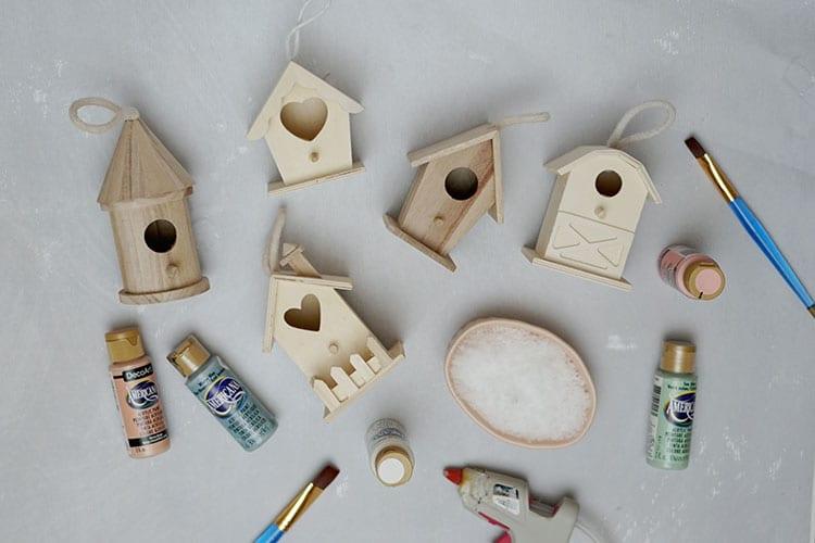 Mini-Birdhouse-Christmas-Village-Ornaments---Supplies