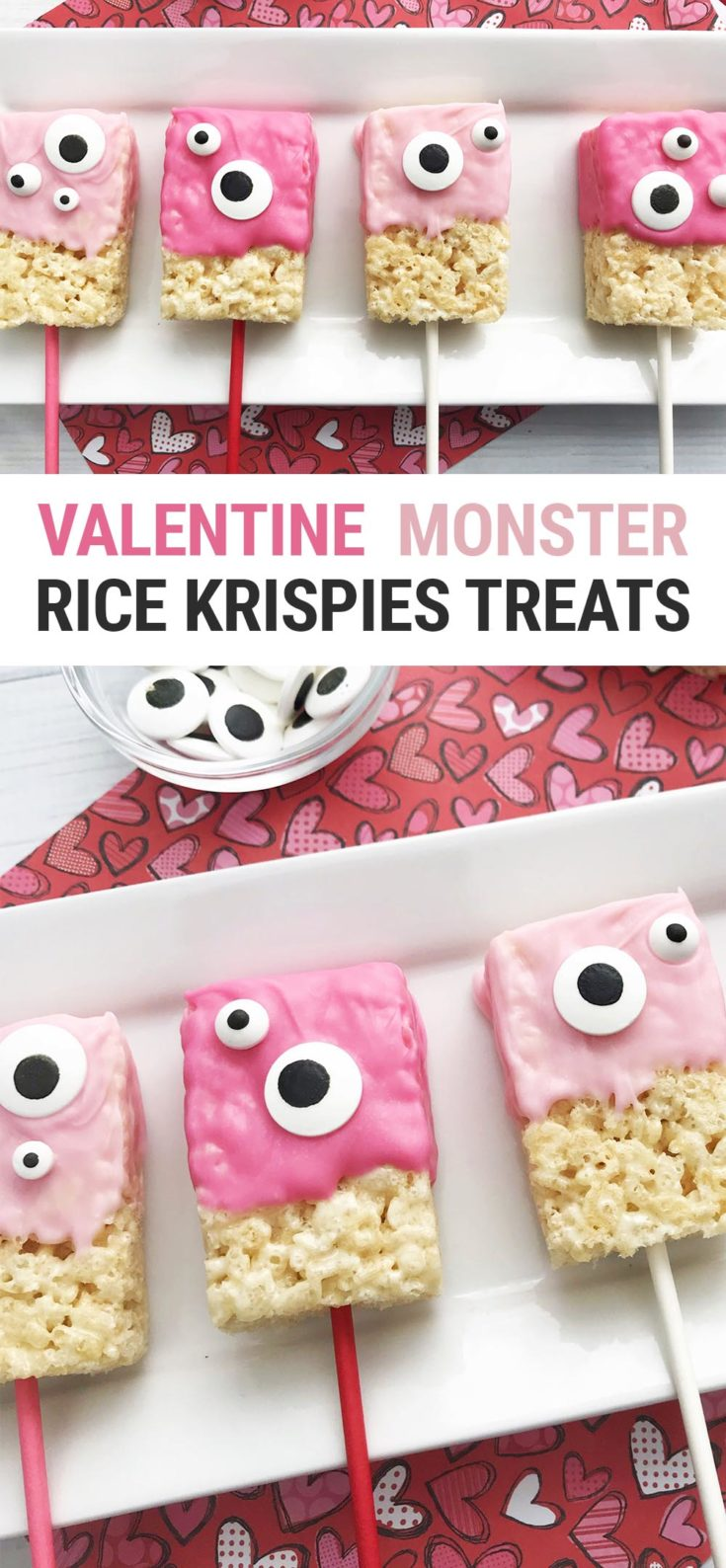 This cute halfway homemade monster Valentine Rice Krispie Treats recipe is the perfect Valentine's Day party kids treat! The Rice Krispies Treats are store-bought, so you can make these quick and easy! #ValentinesDay #kids #recipes