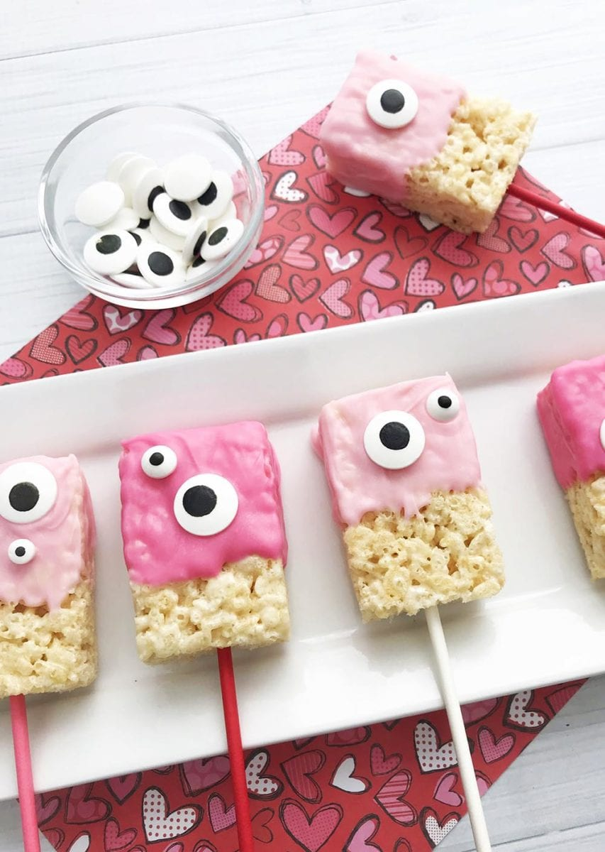 Halfway Homemade Chocolate-Dipped Monster Valentine Rice Krispie Treats