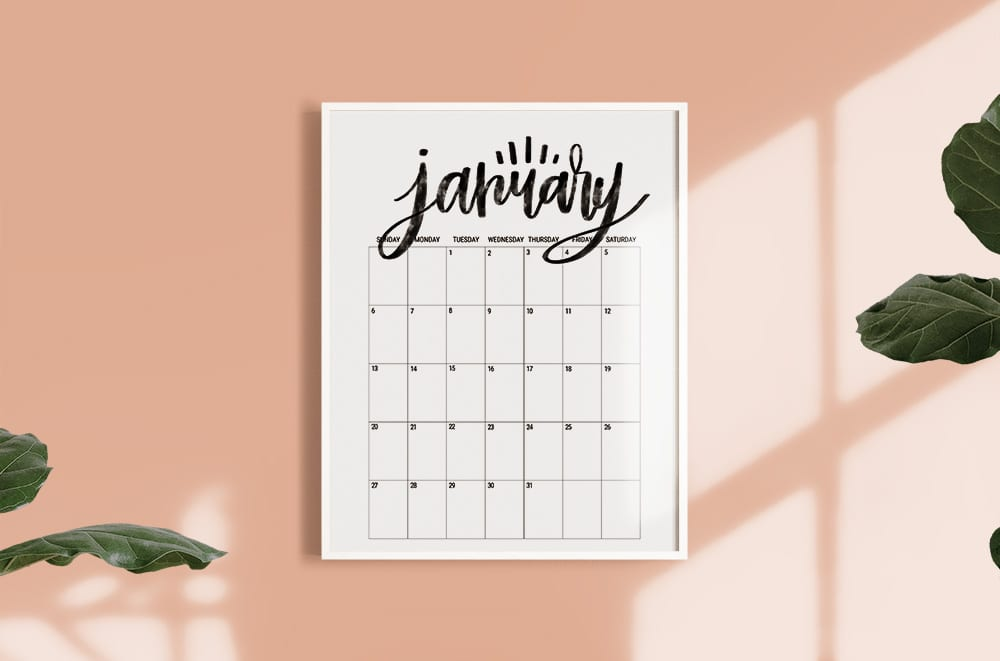 Hand Lettered Free Printable 2019 Monthly Calendar Poster Size by Shrimp Salad Circus
