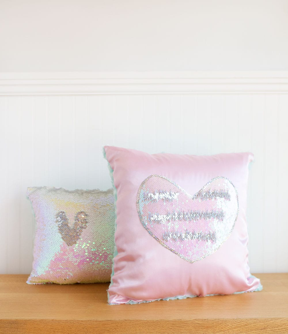 Pink heart magic sequin pillow and iridescent mermaid sequin pillow