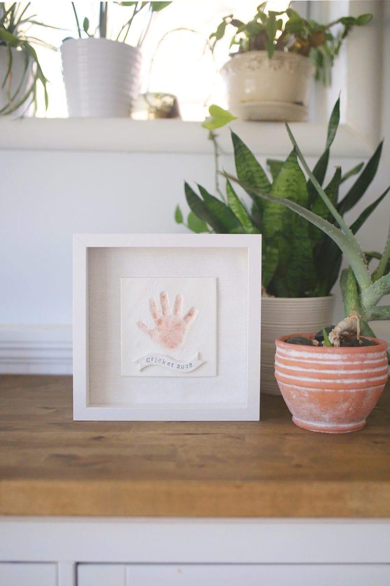 DIY Baby Hand Print Keepsake Frame