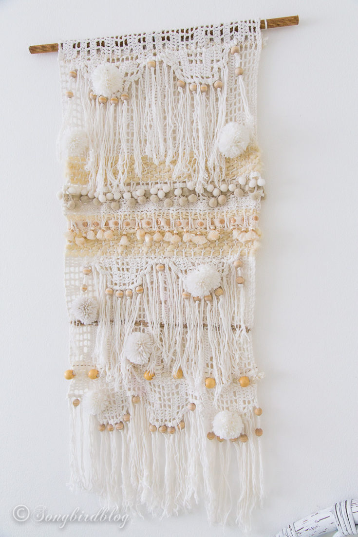 DIY yarn wall hanging. An unexpected thrift store upcycle