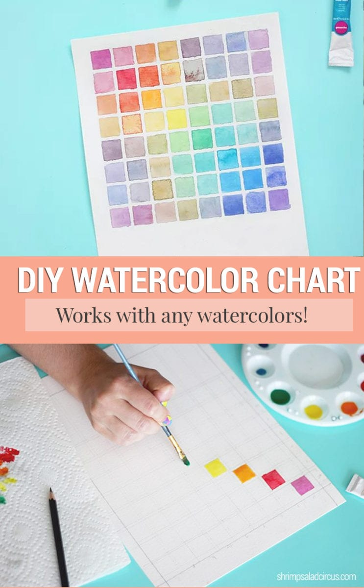 Photo of a DIY watercolor chart for mixing paint