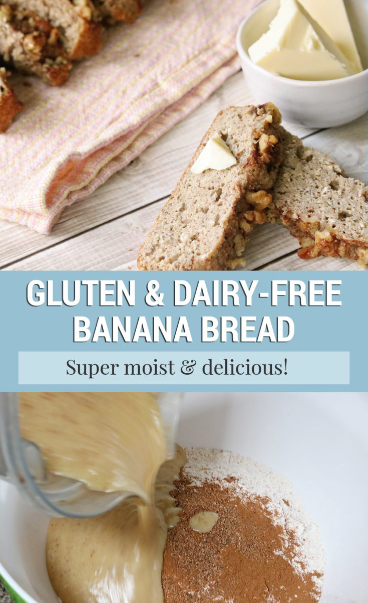 This dairy-free gluten-free banana bread recipe can be made nut-free, too, so it's a perfect allergy-friendly dessert if you're on the hunt for allergy-friendly recipes for kids or adults!