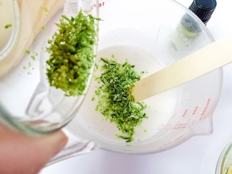 Lime Zest in a Coconut Soap Recipe