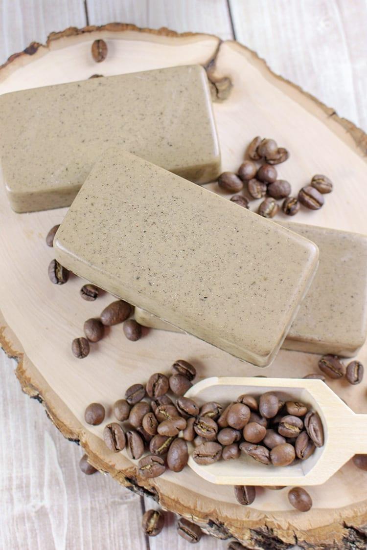 Vanilla Coffee Soap Recipe on a Wooden Board
