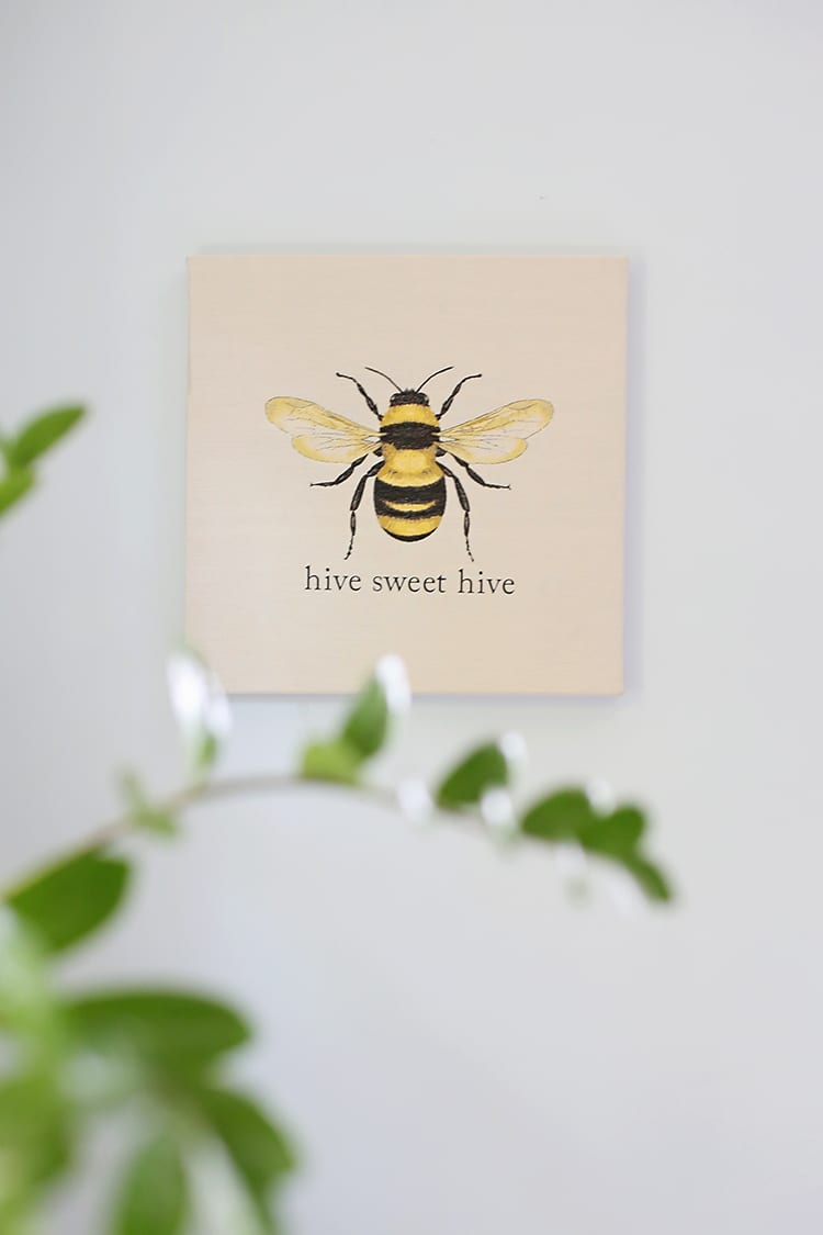 Easy Embroidery Effect for Wall Art - Hive Sweet Hive