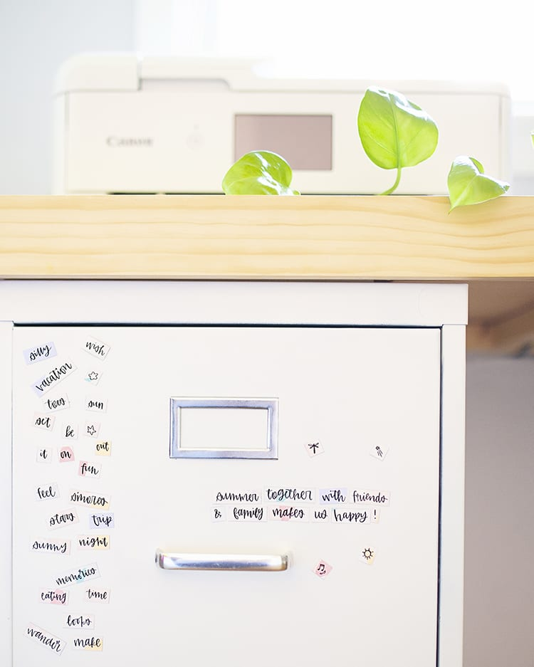 File Cabinet with Free Printable Magnetic Poetry