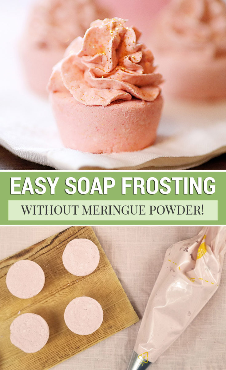 This whipped melt and pour soap frosting recipe is the perfect bath bomb frosting. Add it to cupcake bath bombs -- no meringue powder needed!