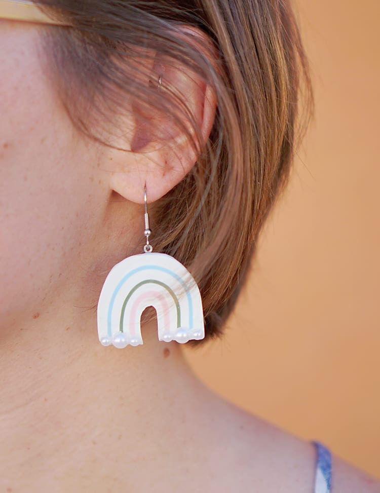 DIY Polymer Clay Earrings With Rainbows