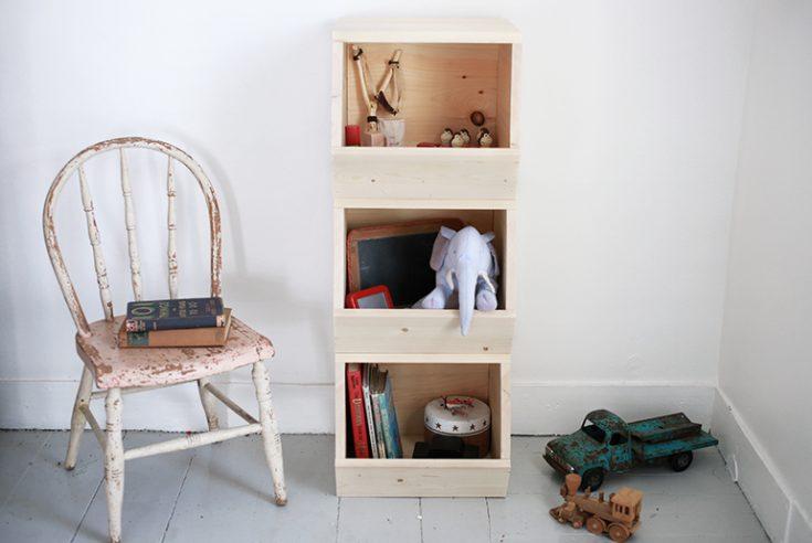 DIY Wooden Toy Bins