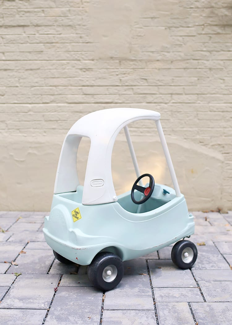 How to Paint Plastic - Vintage Little Tikes Cozy Coupe Toy Car After Painting