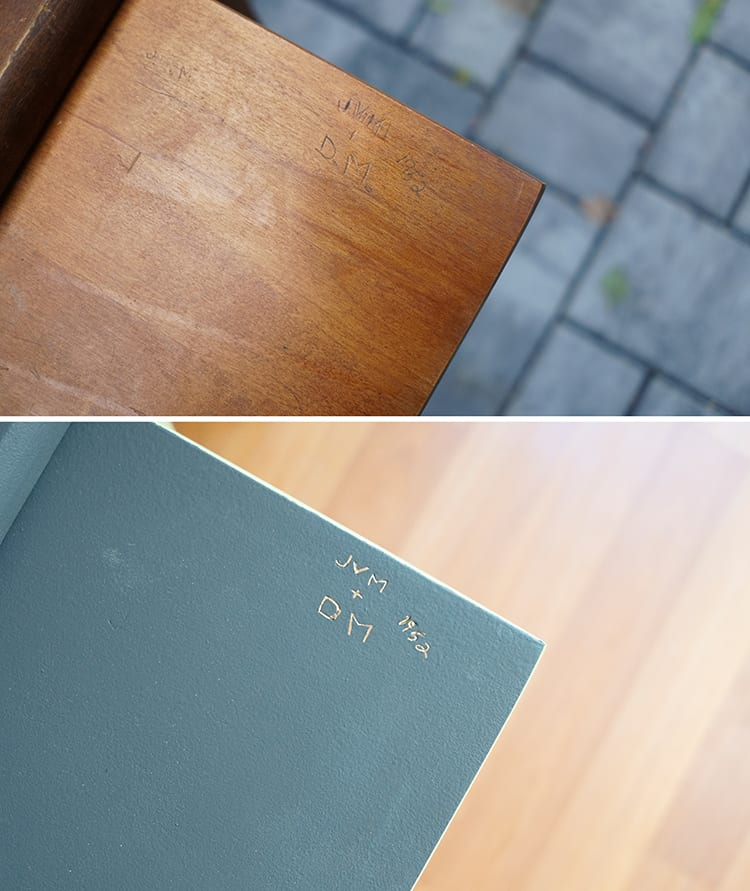 Before and After - Initials Carved into Vintage Roll Top Desk 1