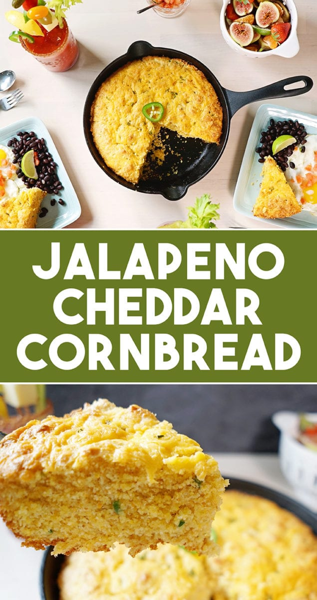 Buttermilk Cast Iron Skillet Jalapeño Cheddar Cornbread Recipe for Brunch Pinterest