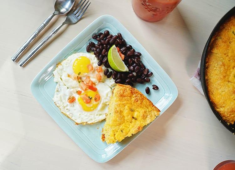 Cast Iron Skillet Jalapeño Cheddar Cornbread Recipe for Brunch or Dinner
