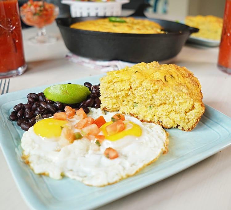 Cast Iron Skillet Jalapeño Cheddar Cornbread Recipe for Mexican Food Brunch