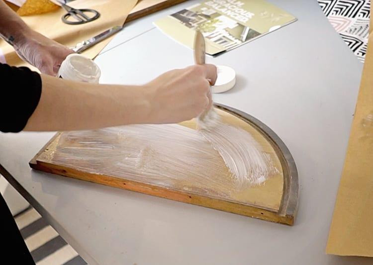 Decoupaging Fabric onto Wood