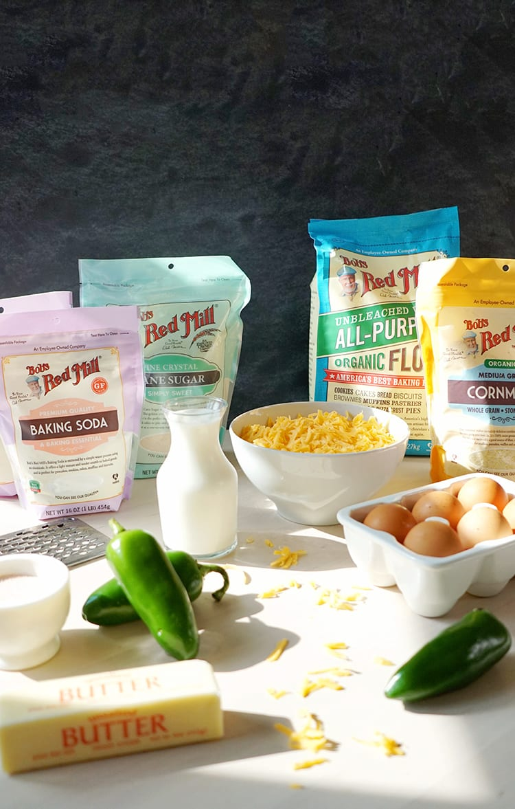 Ingredients for Cast Iron Skillet Jalapeño Cheddar Cornbread Recipe